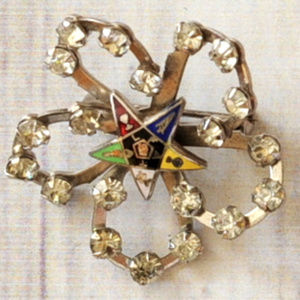 vtg rhinestone masonic star freemason brooch pin